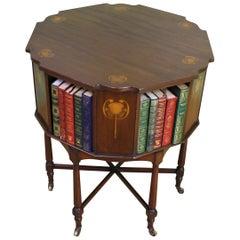 English Inlaid Mahogany Art Nouveau Revolving Book Table