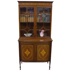English Inlaid Mahogany Bookcase Cabinet by Jas, Shoolbred of London