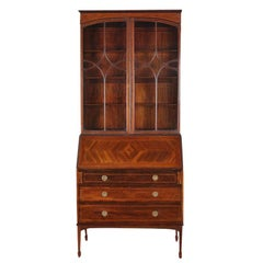 English Inlaid Mahogany Secretary Bookcase