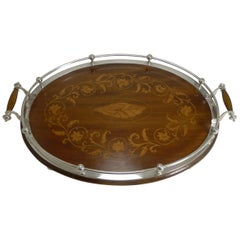 English Inlaid Oak Serving Tray with Silver Plated Fittings, circa 1900-1910