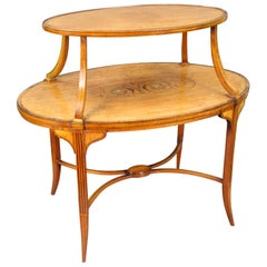 English Inlaid Satinwood Étagère Two-Tier Table, circa 1890