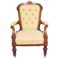 English Inlaid Walnut Armchair 19th Century Lounge Chair