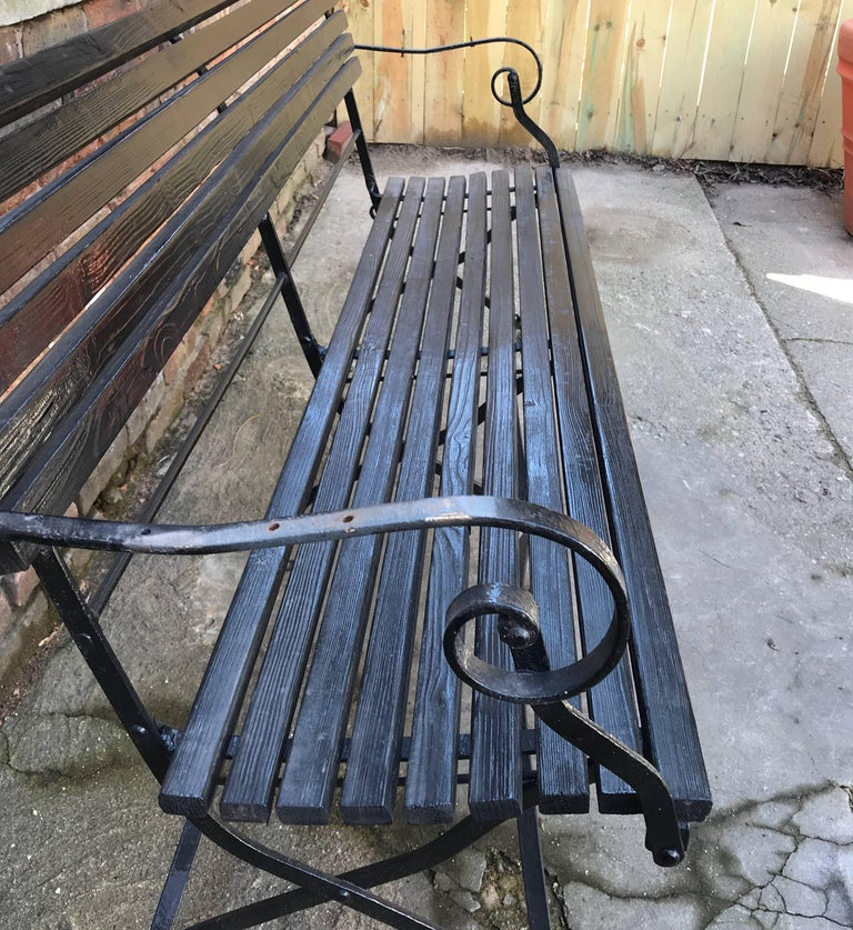 Late Victorian English Iron and Wood Folding Garden Bench For Sale