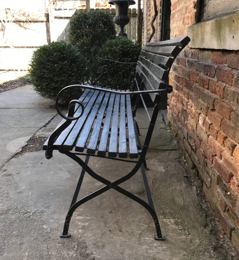 19th Century English Iron and Wood Folding Garden Bench For Sale
