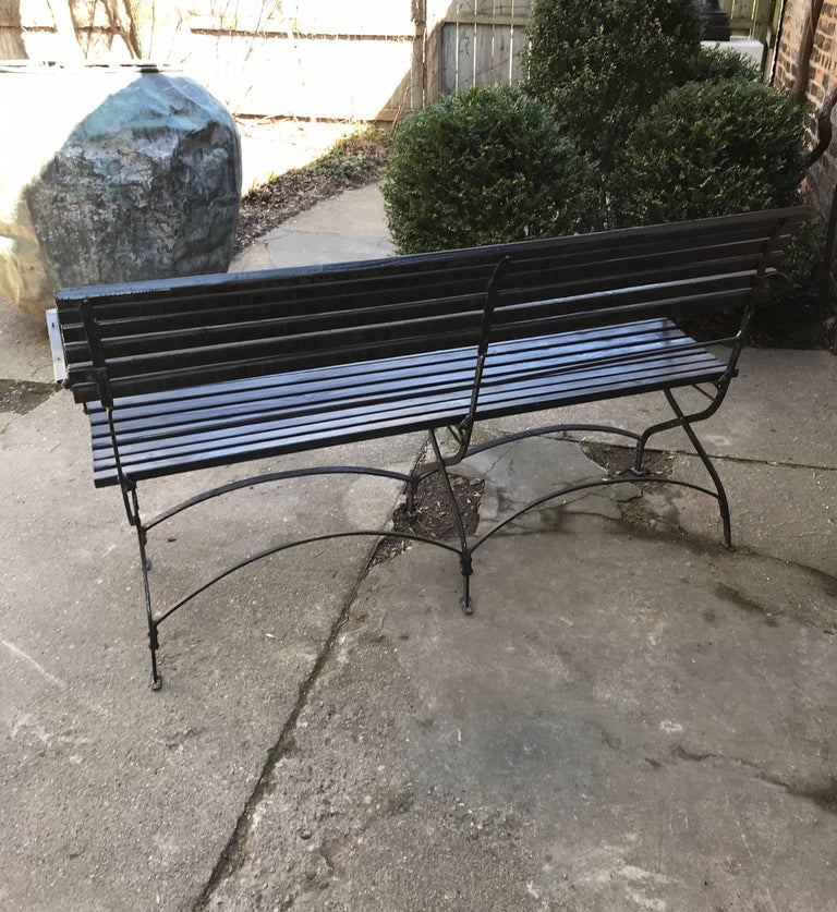 English Iron and Wood Folding Garden Bench For Sale 1
