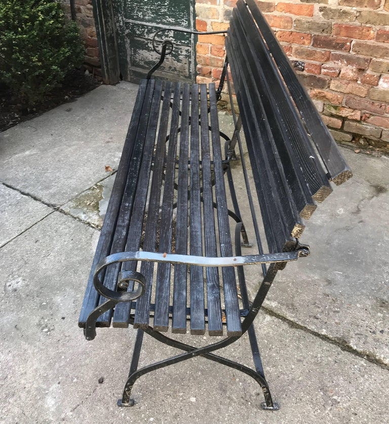 English Iron and Wood Folding Garden Bench For Sale 4