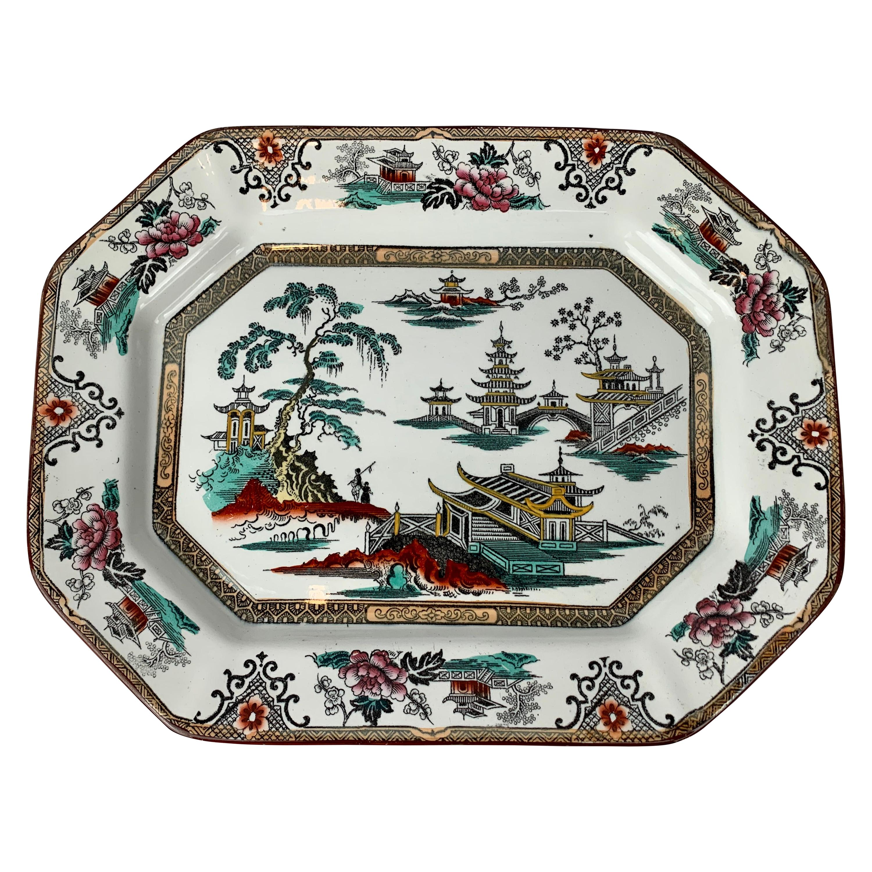 English Ironstone Platter with Cut Corners and Chinoiserie Scenes
