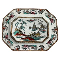 English Ironstone Platter with Chinoiserie Scenes-Cut Corners