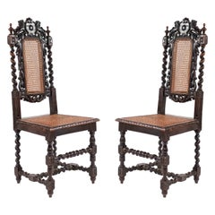 English Jacobean Lion Side Chairs