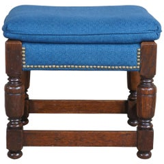 English Jacobean Oak Joint Foot Stool Ottoman Bench Blue Upholstery & Nail Head