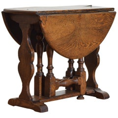 English Jacobean Revival Oak Small Drop-Leaf Table, circa 1900
