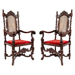 English Jacobean Walnut Armchairs