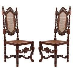 English Jacobean Walnut Side Chairs