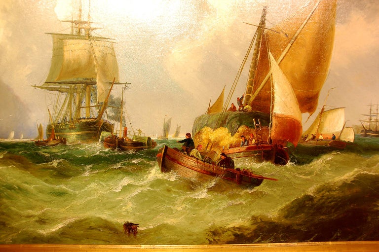 English original large oil painting on canvas signed: J(ohn) CALLOW in gold leaf frame. An exciting marine scene of working and sailing ships in choppy water with the coast of England in the background. Relined and restored as needed, circa