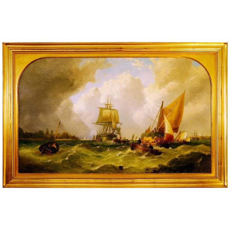 "English John Callow Original Oil Painting on Canvas ""Shipping in the Medway"" For Sale"