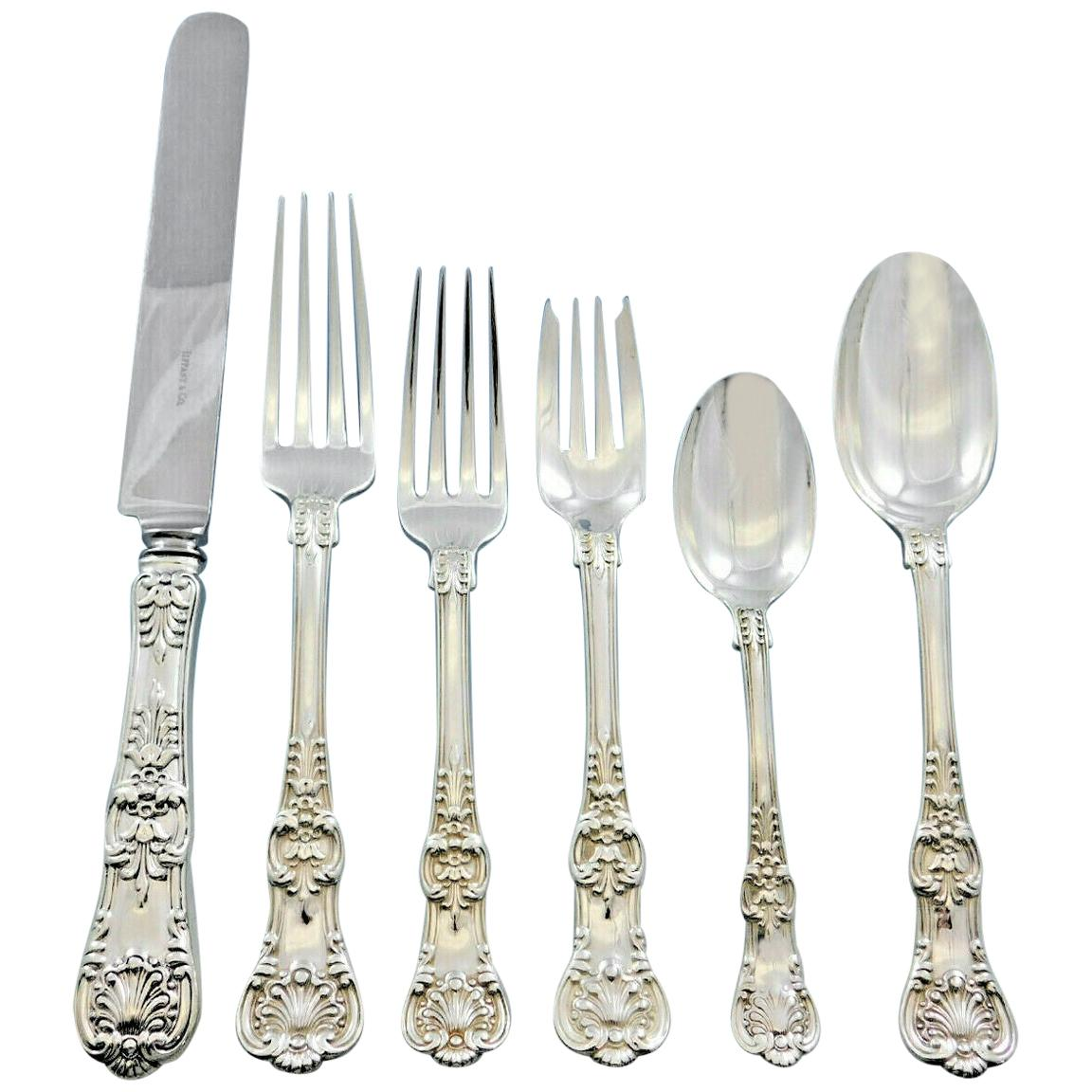 English King, Tiffany & Co. Sterling Silver Flatware Set Service 51 Pcs Dinner