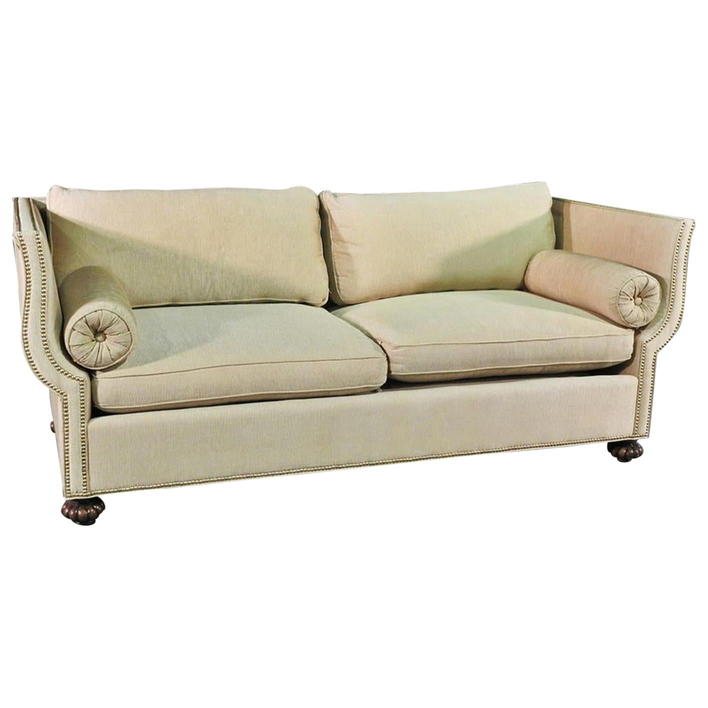 English Knole Style Althorp Living History Sofa Couch Oatmeal Upholstery 1 of 2