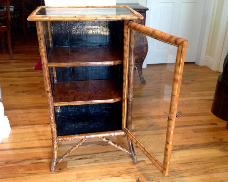 English Lacquered Bamboo Bookcase For Sale 4