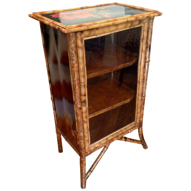 English Lacquered Bamboo Bookcase For Sale