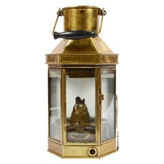 Late 19th century Antique English Nautical Lamp Signed Bulpitt, Brass and Glass