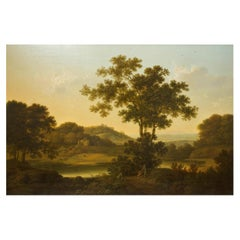 """English Landscape Painting of """"Travelers Resting"""" by George Smith of Chichester"""