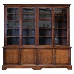 English Large Mahogany Glazed Country House Bookcase