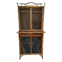 English Late 19th Century Bamboo Secretary with Hand Painted Panels, C.1890