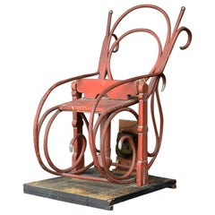 English Late 19th Century Clockwork Bentwood Rocking Chair Shop Display