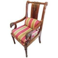 English Late 19th Century, Mahogany Rams Head Armchair