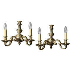 English Late 19th Century Pair of Silver Gilded Antique Wall Lights