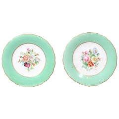 English Late 19th Century Plates with Colorful Floral Décor, Green and Gold Trim