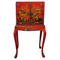 English Late 19th Century Red Chinoiserie Cabinet on Original Cabriole Leg Stand