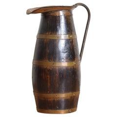 English Late Georgian Period Oak, Brass and Copper Handled Pitcher, ca. 1830