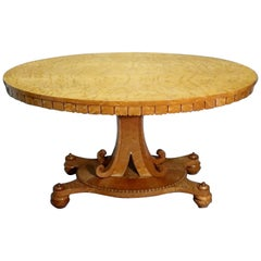 English Late Regency Birds Eye Maple Oval Centre Table Attributed to Gillows