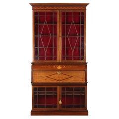 English Late Victorian / Edwardian Inlaid Mahogany Sectretary Bookcase Desk