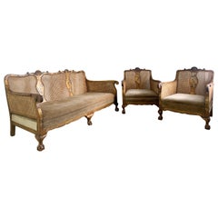 English Late Victorian Gilt Chinoiserie Bergere Suite