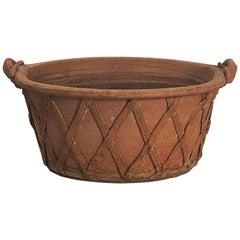 English Lattice Pattern Garden Planter or Bowl of Terracotta