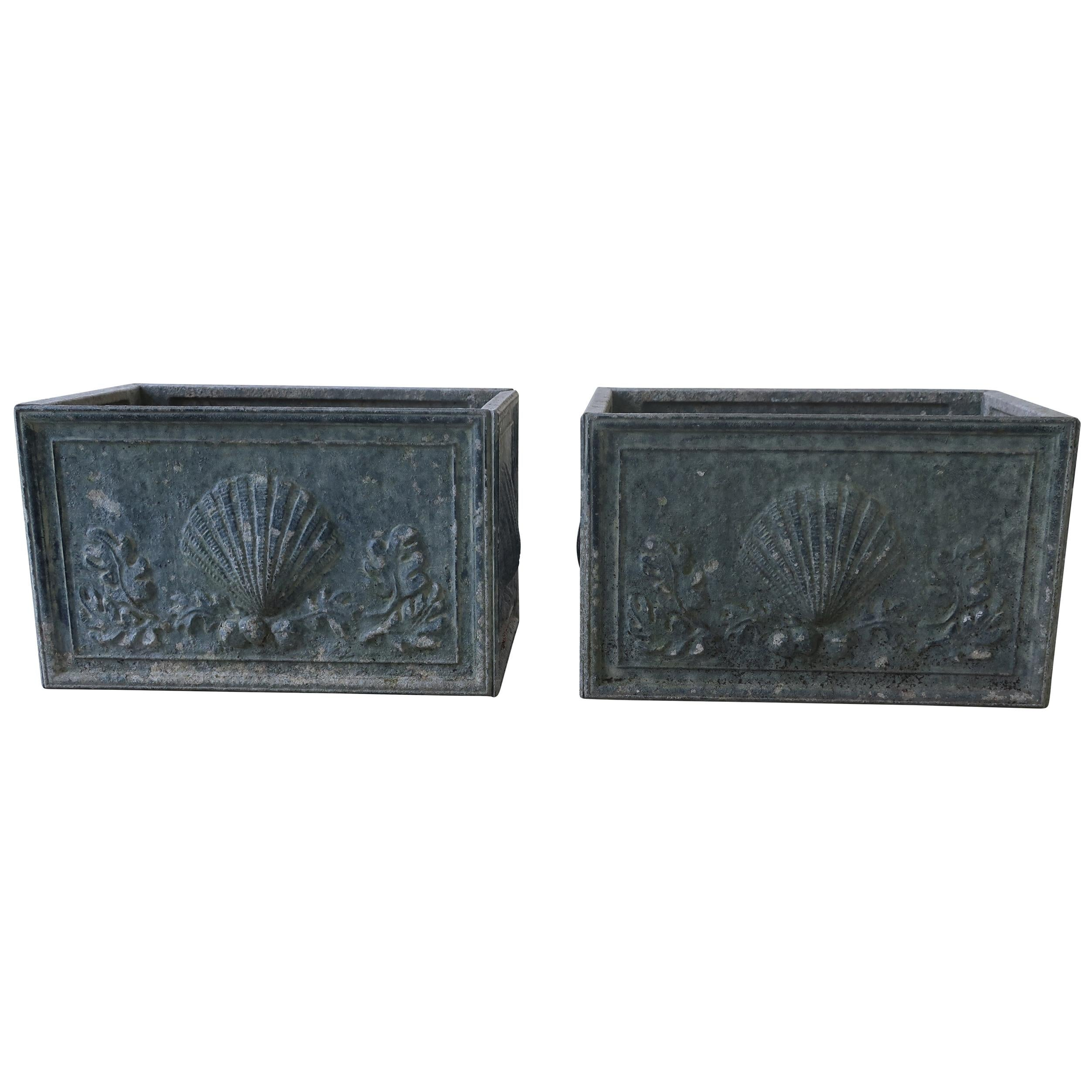 English Lead Grey Planters with Scallop Shell Motif, Pair