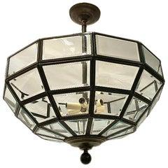 English Leaded Glass Light Fixture
