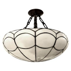 English Leaded Glass Pendant Light Fixture