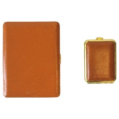English Leather and Brass Cigarette and Matchbox Holder Case