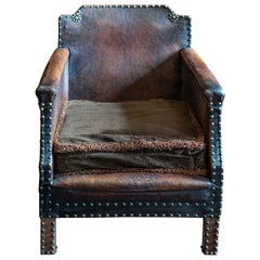 English Leather and Brass Studded Armchair