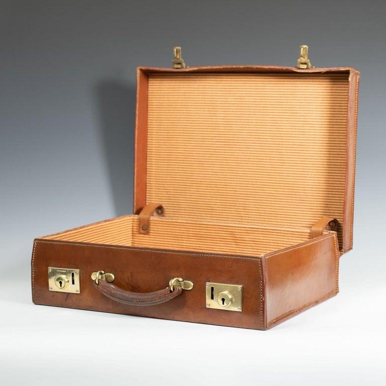 English Leather Attaché Case, circa 1940 For Sale 1