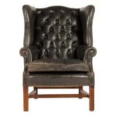 English Leather Button Back Wing Chair with Mahogany Frame, circa 1940