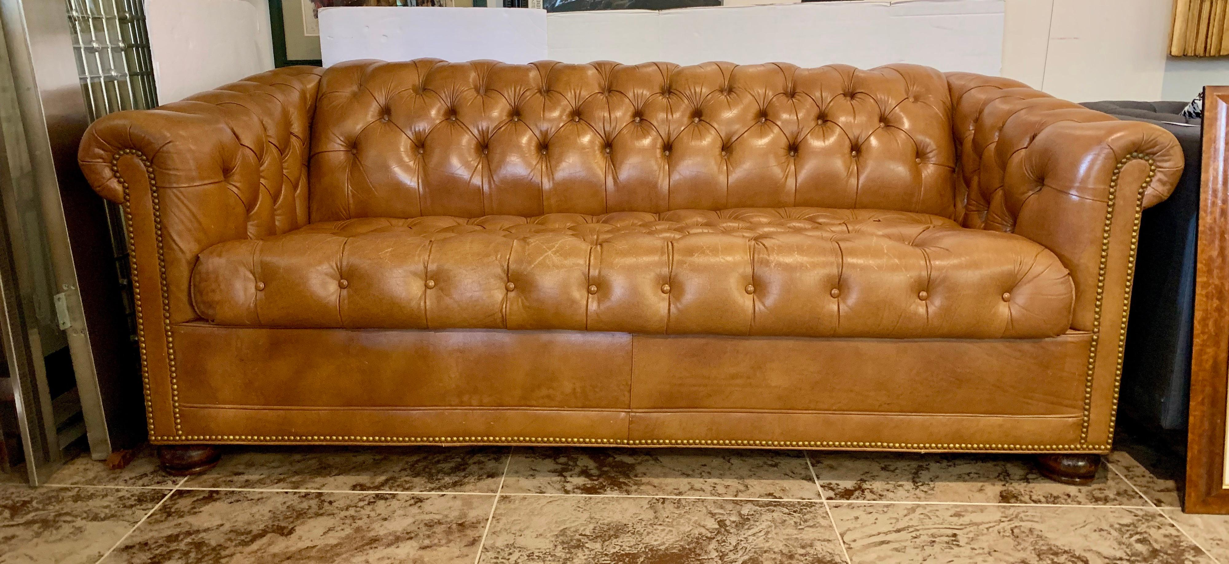 Charmant Magnificent Caramel Leather Chesterfield Sleeper Sofa With Nailhead Detail  And Tufted Leather Throughout. This Vintage