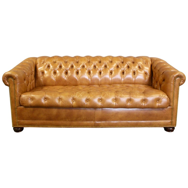 English Leather Chesterfield Sleeper Sofa Brass Nailheads