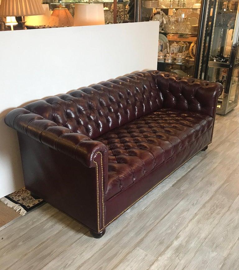 Edwardian English Leather Chesterfield Sofa