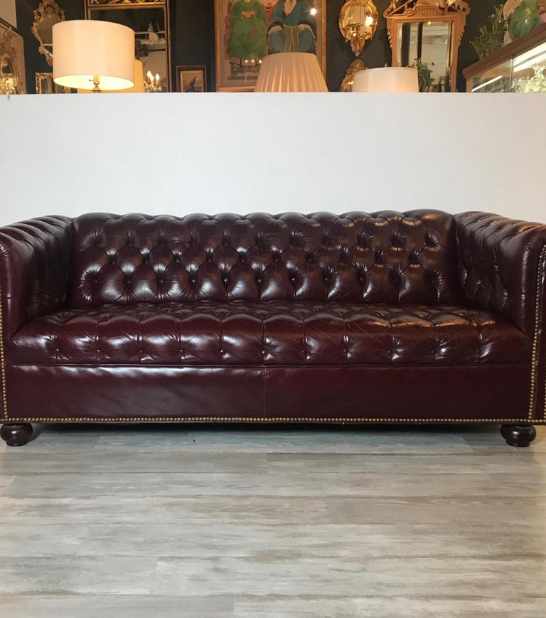 Brass English Leather Chesterfield Sofa