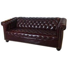 English Leather Chesterfield Sofa