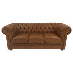 English Leather Chesterfield Sofa in Beautiful Cognac Color